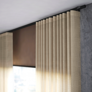 Beige pleated Silent Glis wave curtains